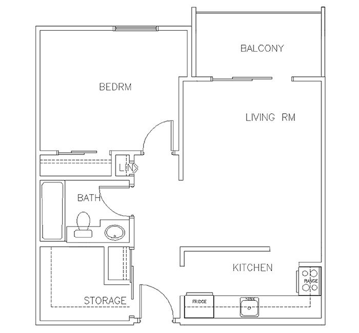 One Bedroom Floor Plan - Suite A