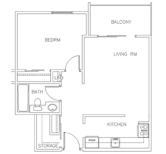 One Bedroom Floor Plan - Suite B