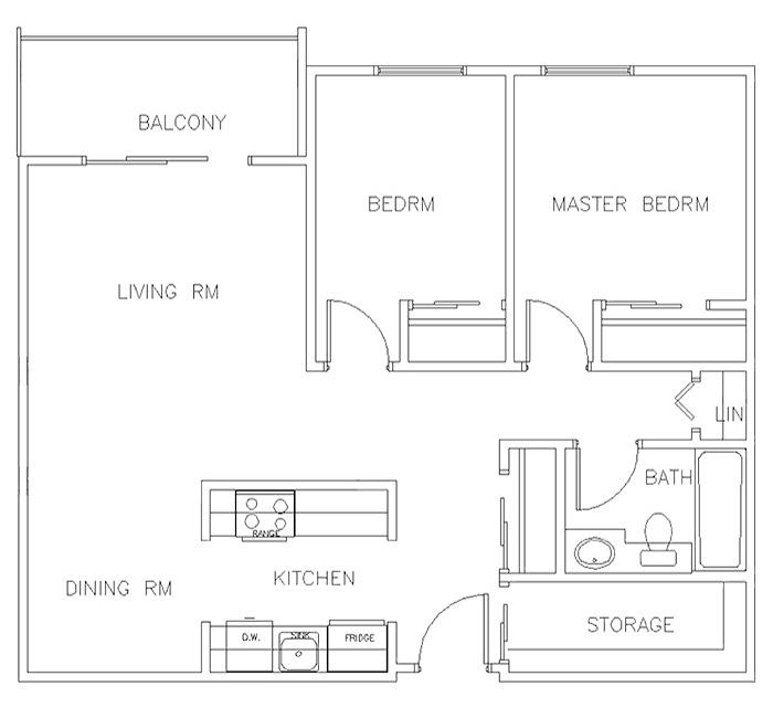 Two Bedroom Floor Plan - Suite A
