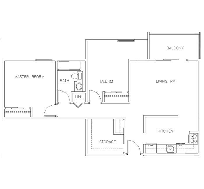 Two Bedroom Floor Plan - Suite B